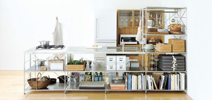 ステンレスユニットシェルフオープンキッチン|サンワカンパニー+無印良品
