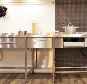 オープンカウンターステンレスフレームキッチン