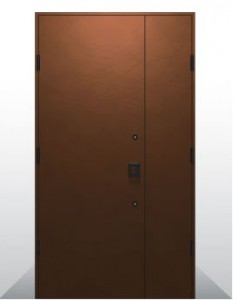 耐候性鋼板親子・片袖開き玄関ドア